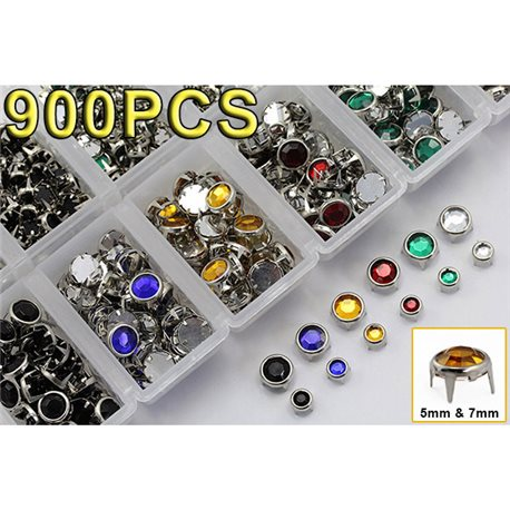 900 Pieces Mixed Size & 6 Color Bulk Refills for Bedazzler