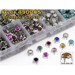 Mixed 10-Color Size 30 Bedazzler Round Rhinestones Studs Refills Over 450PCS