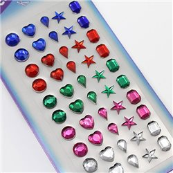 Stick On Gems For Face, Body and More 8mm 1 Sheet / 50 Pcs