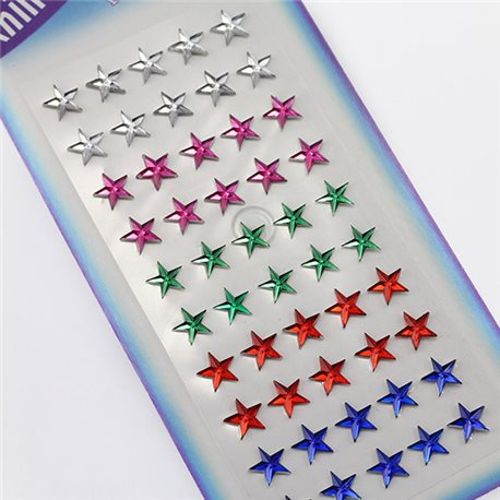 8mm Stick On Star Gems For Face, Body and More! - 50 Pieces