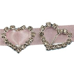 18mm Heart Crystal Rhinestone Ribbon Buckles For Card Making and DIY Wedding Invitations - 10 Pieces