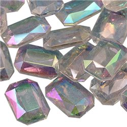 Emerald Cut Decorating Gems AB Coating 18x13mm 50 Pcs