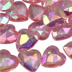 Heart Decorating Gems AB Coating 16mm 50 Pcs