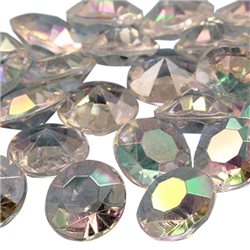 20mm 25 Carats Plastic Diamonds AB Coating For Wedding Decorations