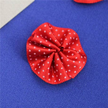 "1 3/16"" Polka Dot Round Fabric Floral Embellishments For Scrapbooking - 30 Pieces"