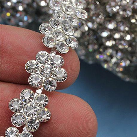 Crystal Silver Rhinestone Chain Flower Style 1073 - 1 Yard
