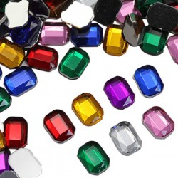 8x6mm Flat Back Octagon Acrylic Gemstones High Quality Pro Grade