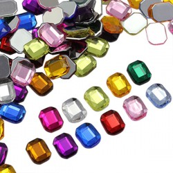 Octagon Acrylic Gems Flat Back 10X8mm 70 Pcs