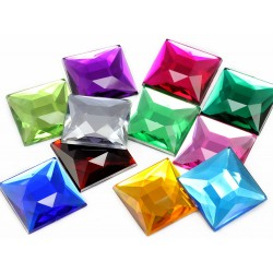 Square Acrylic Gems Flat Back 24mm 14 Pcs