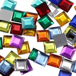 15mm Flat Back Square Acrylic Gemstones High Quality Pro Grade