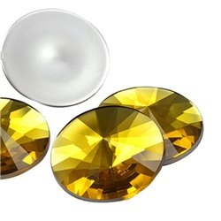 Gold Topaz Rond Satellite Acryllique Gemmes Dos Plat 25mm