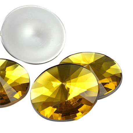 Gold Topaz Round Satellite Acrylic Gems Flat Back 25mm