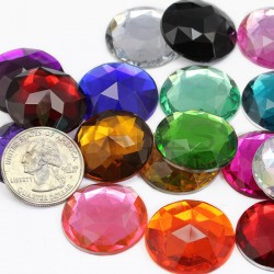 Round Acrylic Gems Flat Back 25mm 20 Pcs
