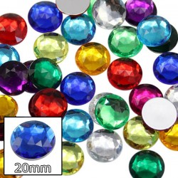 Round Acrylic Gems Flat Back 20mm 20 Pcs
