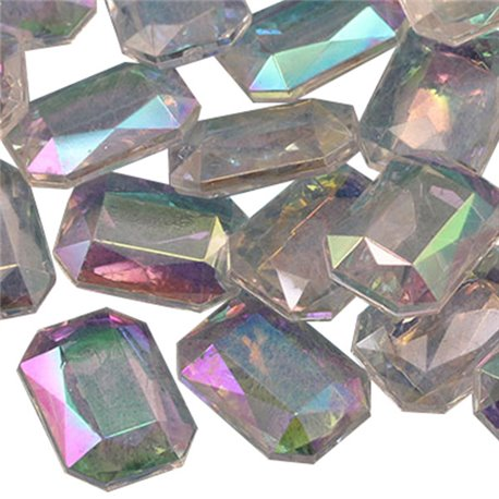 Emerald Cut Decorating Gems AB Coating 18x13mm