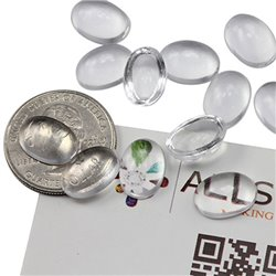 Oval Clear Acrylic Cabochons Flat Back 14x10mm 50 Pcs
