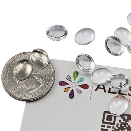 Oval Clear Acrylic Cabochons Flat Back 10x8mm