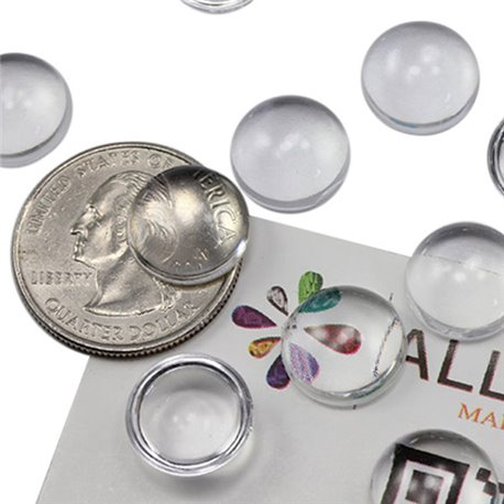 Round Clear Acrylic Cabochons Flat Back 13mm