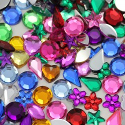 Flat Back Acrylic Gems in Bulk Assorted Shapes Colors 8mm - 10mm 1400PCS