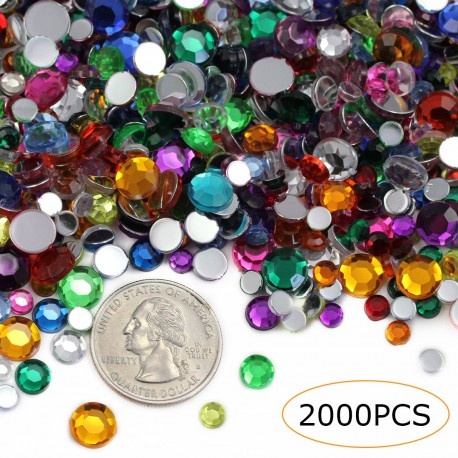 Acrylic Rhinestones in Bulk 2000 Pcs 3 Sizes Over 10 Assorted Colors