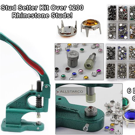 Kit - Stud Setter Plus Approx 1200 Strass Studs In 3 Tailles et 6 Assorti Couleurs.