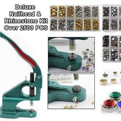 Deluxe Nailhead & Rhinestone Kit - Stud Setter Plus 2500 Nailheads And Rhinestone Studs