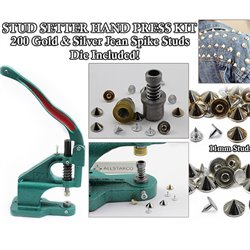 Hand Press Kit - Jean Stud Setter + 200 Gold & Silver Spike Jean Studs With Nails DIY Machine