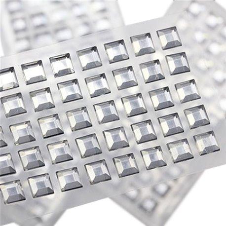 Stick On Square Gems 8mm 1 Sheet / 50 Pcs