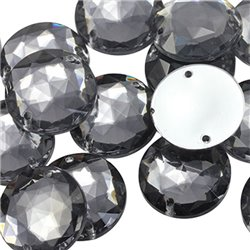 Sew On  Round Acrylic Gems Flat Back 22mm 15 Pcs