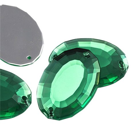 "Sew On Large Oval Gems Flat Back 35x24mm / 1-3/8 x 15/16"" 4 Pcs"