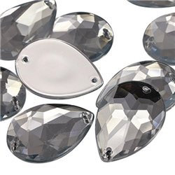 Sew On  Teardrop Acrylic Gems Flat Back 25x18mm 15 Pcs
