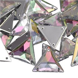 Sew On  Triangle Acrylic Gems Flat Back 20mm 15 Pcs