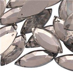 Sew On  Navette Acrylic Gems Flat Back 20x9mm 50 Pcs
