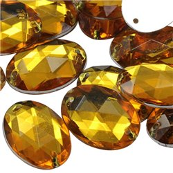 Sew On  Oval Acrylic Gems Flat Back 18x13mm 50 Pcs