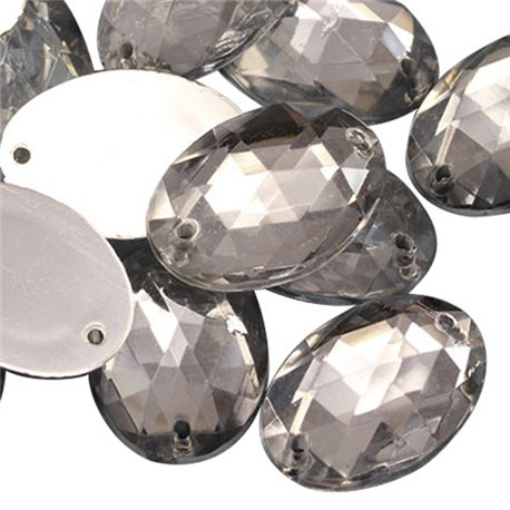 Sew On  Oval Acrylic Gems Flat Back 25x18mm 20 Pcs