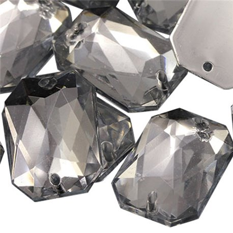 Sew On  Octagon Acrylic Gems Flat Back 18x13mm 50 Pcs