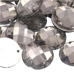 Sew On  Round Acrylic Gems Flat Back 16mm 40 Pcs