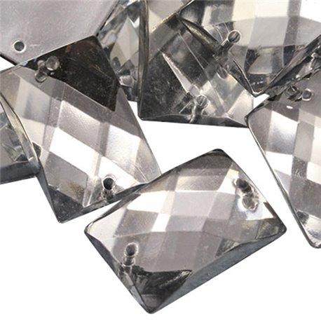 Sew On  Rectangle Acrylic Gems Flat Back 18x13mm 45 Pcs