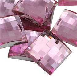 Sew On  Square Acrylic Gems Flat Back 16mm 40 Pcs