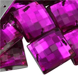Sew On  Square Acrylic Gems Flat Back 18mm 25 Pcs
