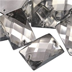 Sew On  Rectangle Acrylic Gems Flat Back 25x18mm 18 Pcs
