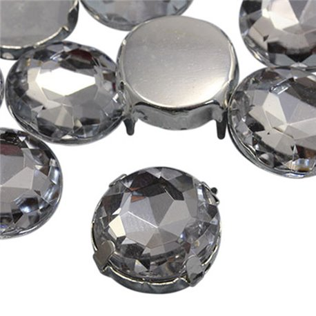 Fancy Gems & Cup Settings Round 16mm 16 Pcs