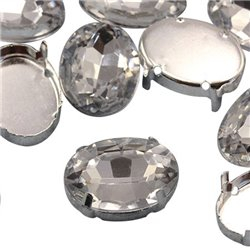 Fancy Gems & Cup Settings Oval 18x13mm 12 Pcs