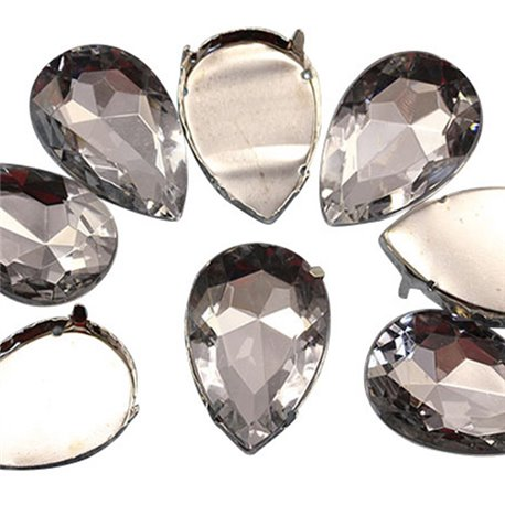 Fancy Gems & Cup Settings Teardrop 25x18mm 8 Pcs