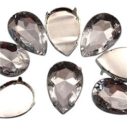 Fancy Gems & Cup Settings Teardrop 30x20mm 4 Pcs