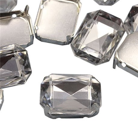 Fancy Gems & Cup Settings Octagon 25x18mm 6 Pcs