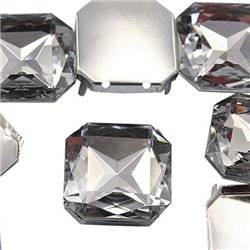 Fancy Gems & Cup Settings Square 23mm 4 Pcs