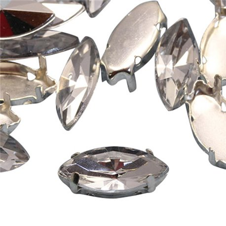 Fancy Gems & Cup Settings Navette 15x7mm 24 Pcs