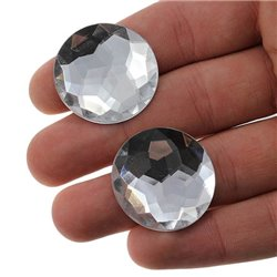 Round Acrylic Gems Flat Back 30mm 12 Pcs