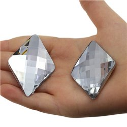 "Large Diamond Gems Flat Back 50x33.6mm /  2 x 1-5/16"" 3 Pcs"